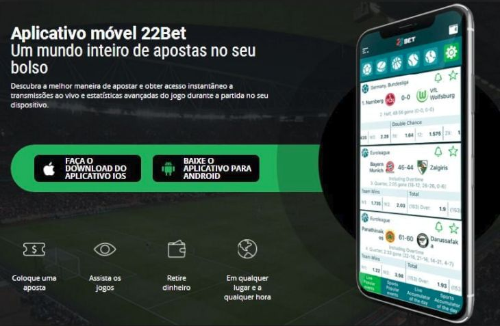 Aplicativo móvel 22bet