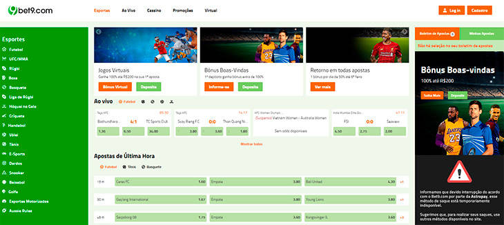 Bet9 home page