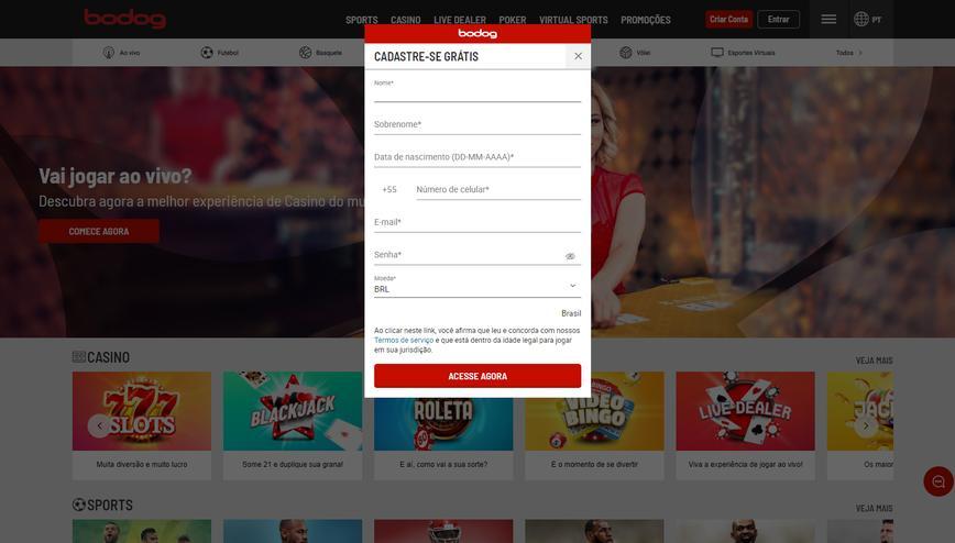 Como se registrar no site Bodog